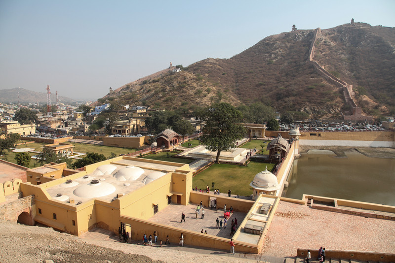A view of the gardens and lake below Amber Fort.