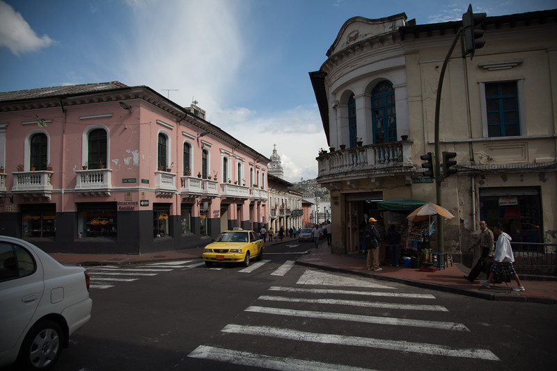 The Spanish influence is apparent in the colors and architecture in Quito.