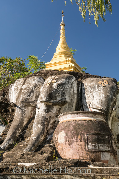 Shrine on top of the carved cliffside of Shwe Ba Taung, Monywa, Myanmar