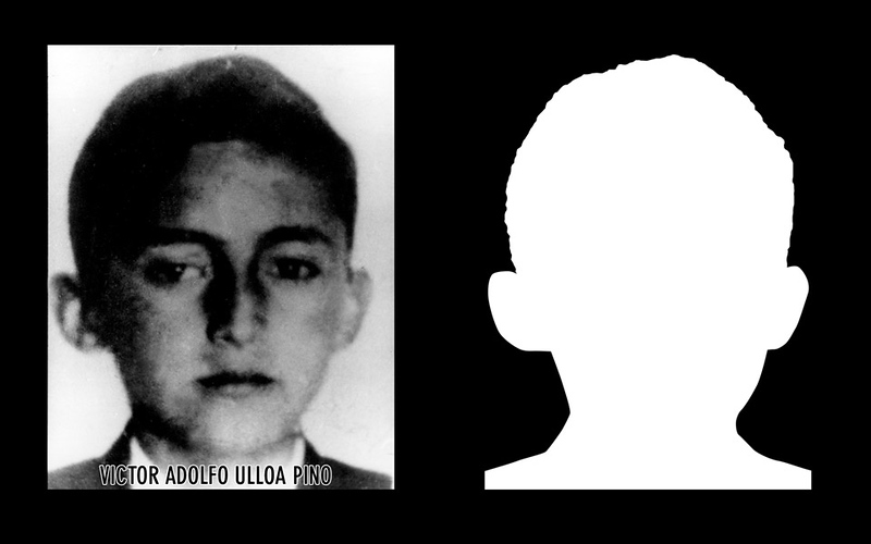 Photograph and silhouette of Victor Adolfo Ulloa Pino Victor Adolfo Ulloa Pino was 16 years old when he was detained and disappeared by Chile's Carabineros (national police) along with his brother of the same age in the southern city of Valdivia on the 18th of September of 1973. *Shown here is the detail of the original photograph juxtaposed against its silhouette. (Courtesy Alfredo Jaar Studio) Information about Victor Adolfo Ulloa Pino can be found inside the archives of the Museo de Memoria y Derechos Humanos (Museum of Memory and Human Rights).  The information presented here and more can be found online: http://www.memoriaviva.com/desaparecidos/D-U/victor_adolfo_ulloa_pino.htm