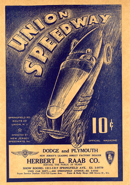 """The first know use of the term """"Big Car"""" in racing advertising was for an ad for The Union Speedway located near Farchers Grove on Springfield ave. The racetrack existed from about 1936 to about 1940."""