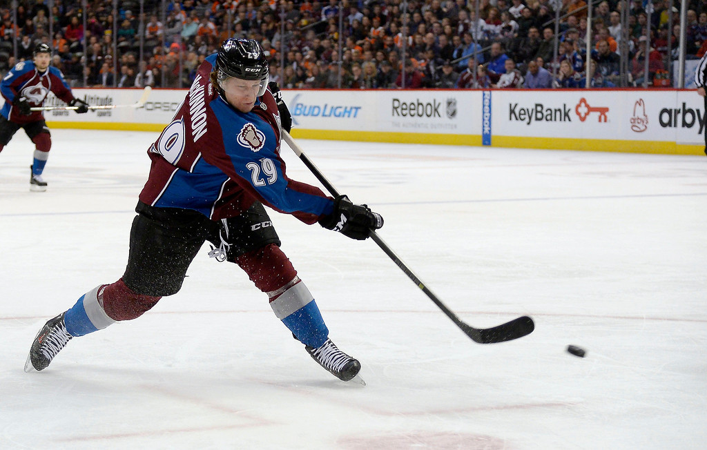 . Colorado Avalanche center Nathan MacKinnon (29) takes a shot on goal during the first period agains the Philadelphia Flyers January 2, 2014 at Pepsi Center. (Photo by John Leyba/The Denver Post)
