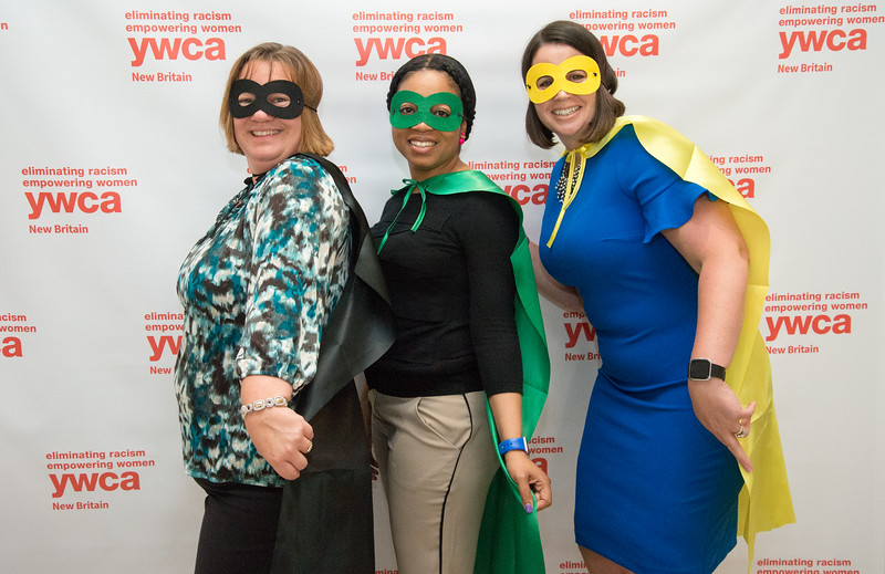 05/09/19  Wesley Bunnell | Staff  The New Britain YWCA held their Women in Leadership Luncheon on May 9th at the Aqua Turf in Southington. Posing with super hero costumes at the end of the event at the fun photobooth are Susan Matterazzo, Kamilah Hastings and Courtney McDavid. All three work for CCSU in the Presidents Office.