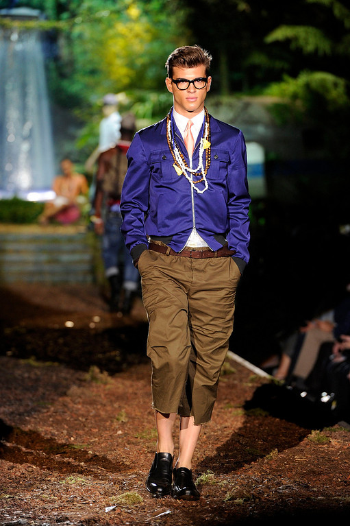 . A model wears a creation for DSquared2 men\'s Spring-Summer 2014 collection, part of the Milan Fashion Week, unveiled in Milan, Italy, Tuesday, June 25, 2013.  (AP Photo/Giuseppe Aresu)