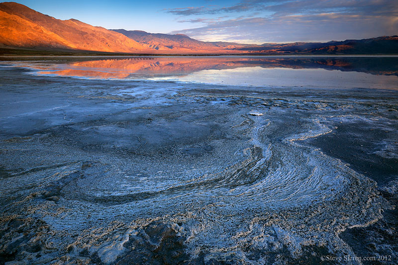 Salt flat reflection in Death Valley.  Salt lake in remote section of Death Valley.