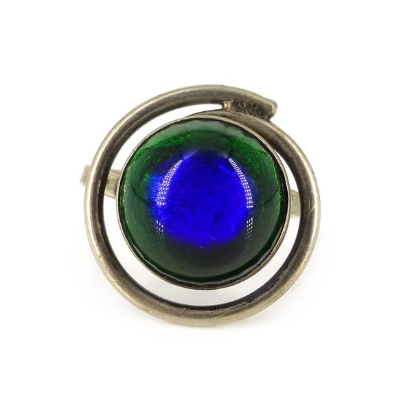 Vintage Art Deco Chrome Peacock Foil Glass Cabochon Ring