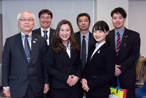 02/20/19 Wesley Bunnell | Staff Japanese students, professors and the vice mayor of New Britain's sister city Atsugi Japan visited CCSU's campus on Wednesday night to give a presentation on the culture of their home city. Shohoku Associate Professor Toshiyuki Yamagata, L rear, Leader of Atsugi sister city relationship team Nobukazu Kitajima, sister city relationship team member Hikaru Abe, Atsugi Vice Mayor Hiromi Shimojima, L front, Shohoku College student's Asuka Yamaguchi and Nene Tamura.