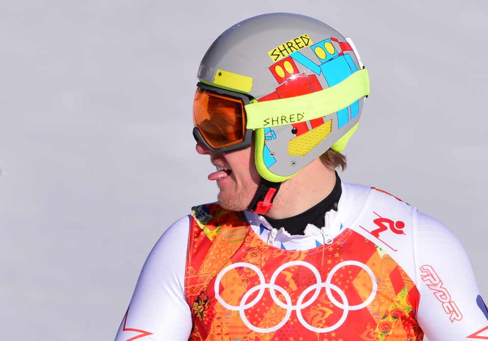 . US skier Ted Ligety reacts after the Men\'s Alpine Skiing Super Combined Downhill at the Rosa Khutor Alpine Center during the Sochi Winter Olympics on February 14, 2014.  (DIMITAR DILKOFF/AFP/Getty Images)