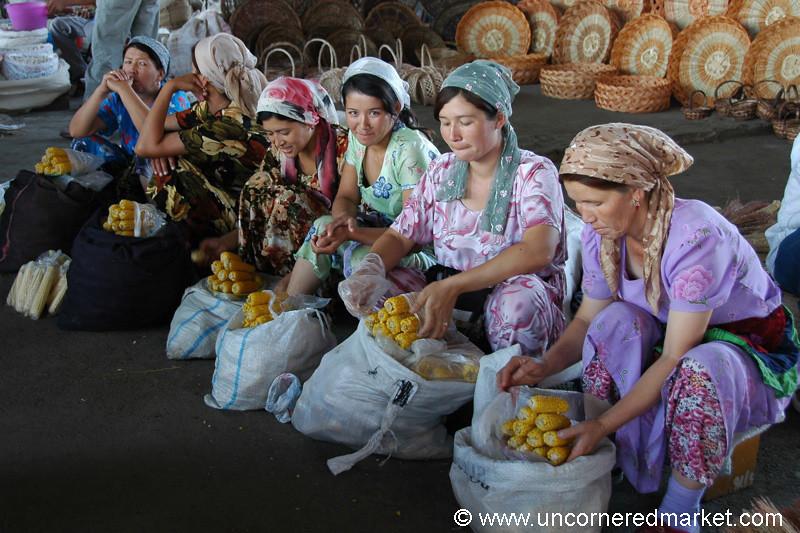 Corn Vendors at Tashkent Market - Tashkent, Uzbekistan