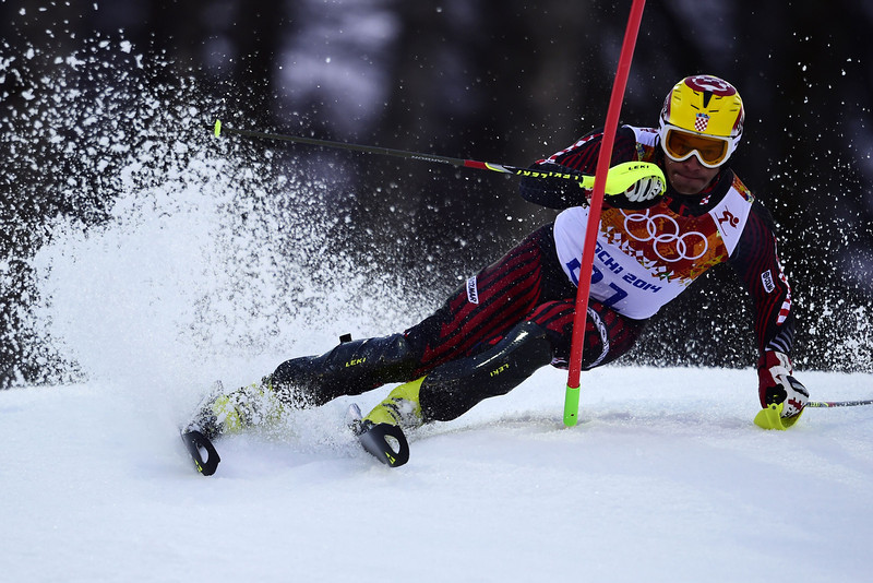 . Croatia\'s Ivica Kostelic competes during the Men\'s Alpine Skiing Super Combined Slalom at the Rosa Khutor Alpine Center during the Sochi Winter Olympics on February 14, 2014.  (OLIVIER MORIN/AFP/Getty Images)