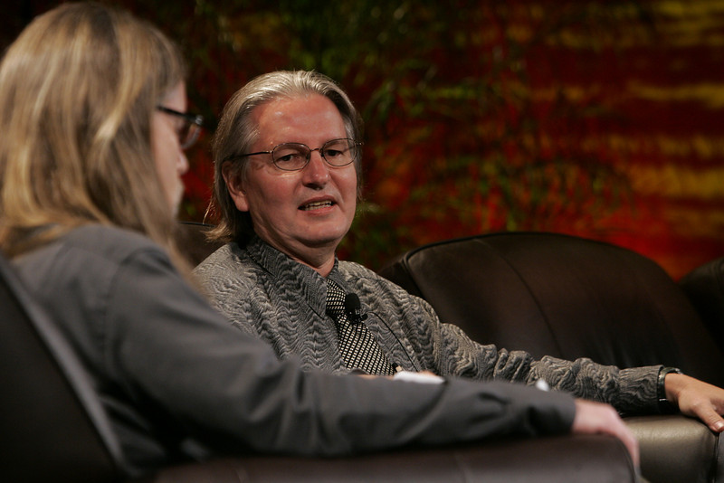 """""""Looking Further"""": Science fiction author Bruce Sterling (R) discusses scenarios of the future with host Sheldon Brown, Center for Research and Computing in the Arts, and head of New Media Arts, Calit2, UCSD"""