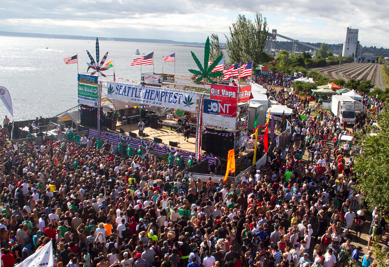 Share Parker Main Stage, one of seven stages presenting music and speakers at Seattle Hempfest each year.  Photo by Janis Marie