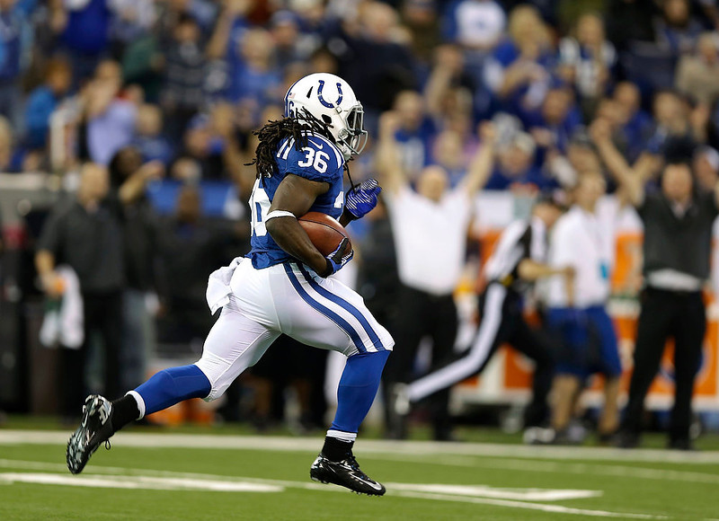. Indianapolis Colts\' Deji Karim runs back a kickoff 101 yards for a touchdown during the second half of an NFL football game against the Houston Texans, Sunday, Dec. 30, 2012, in Indianapolis. (AP Photo/Michael Conroy)