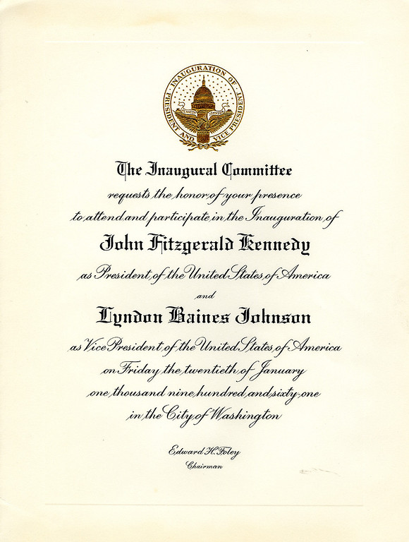 . An invitation for the inauguration of Kennedy as the 35th president of the United States. John F. Kennedy Presidential Library and Museum)