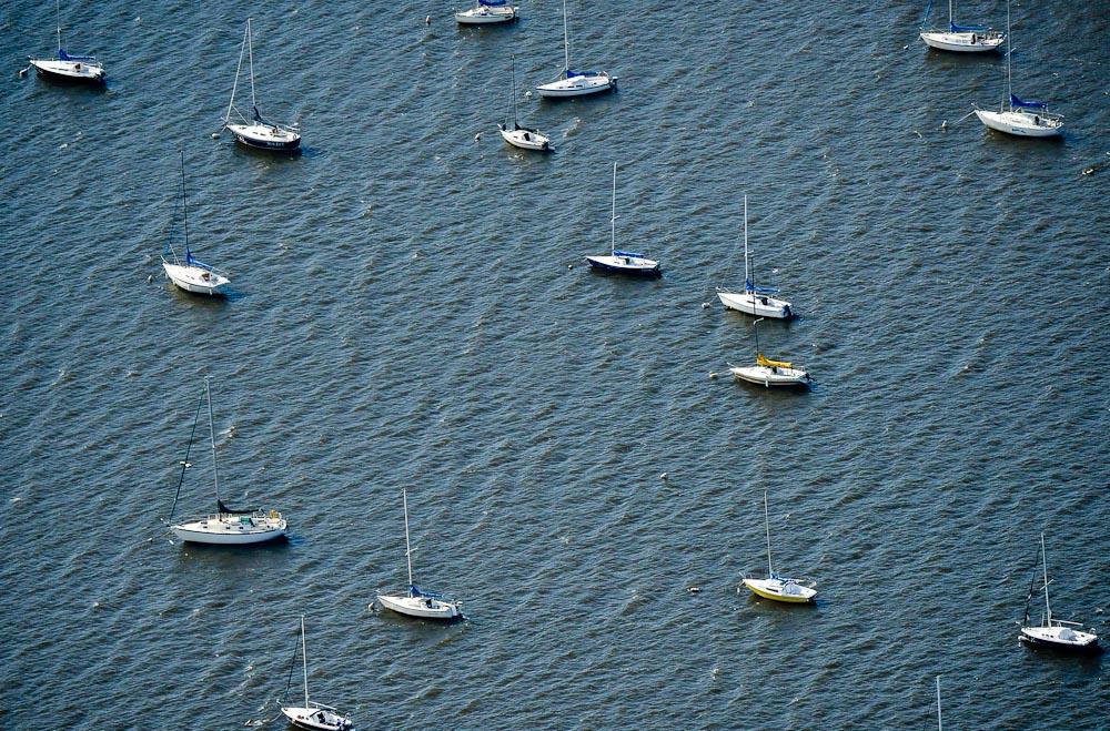 . Sailboats dot the St. Croix River near Hudson. (Pioneer Press: Ben Garvin)