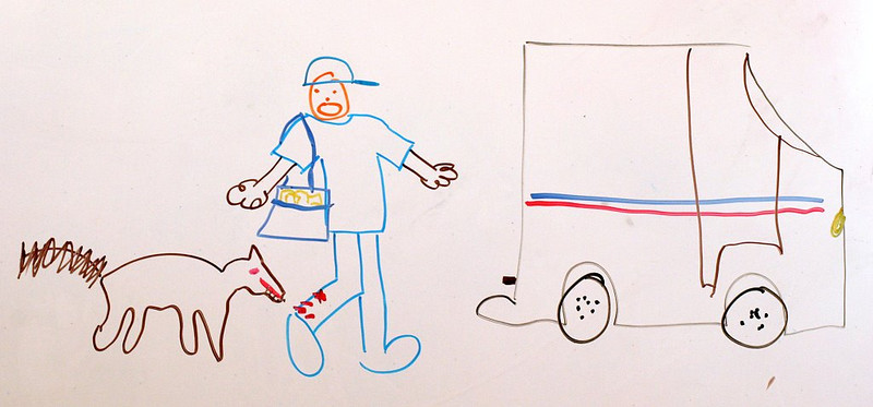 """Postman being bitten by a dog."" - Crystal's Pictionary Masterpiece."
