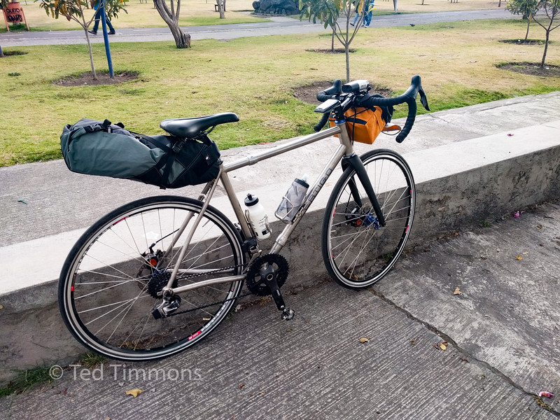 My bike. Drone and wet weather gear in the tailpack.