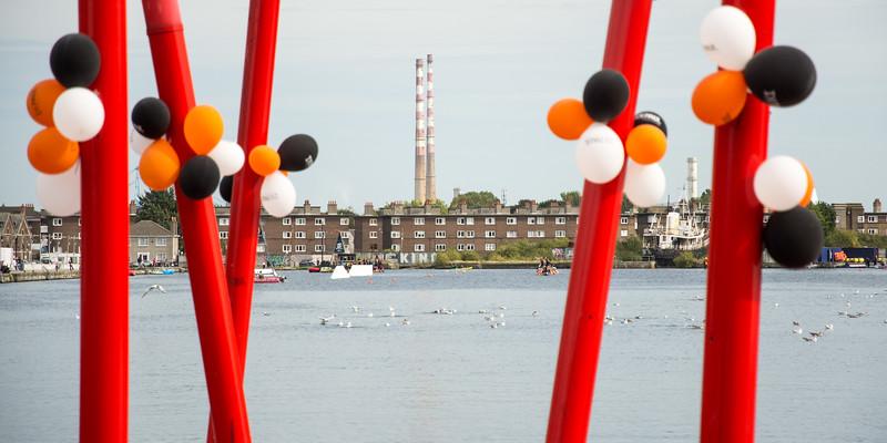 Balloons beside Dublin's Grand Canal Dock