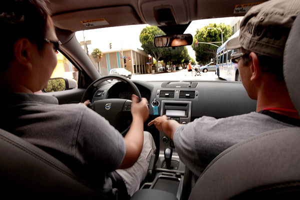 TY test driving a Volvo and the Volvo guy explaining which pedal is the break.