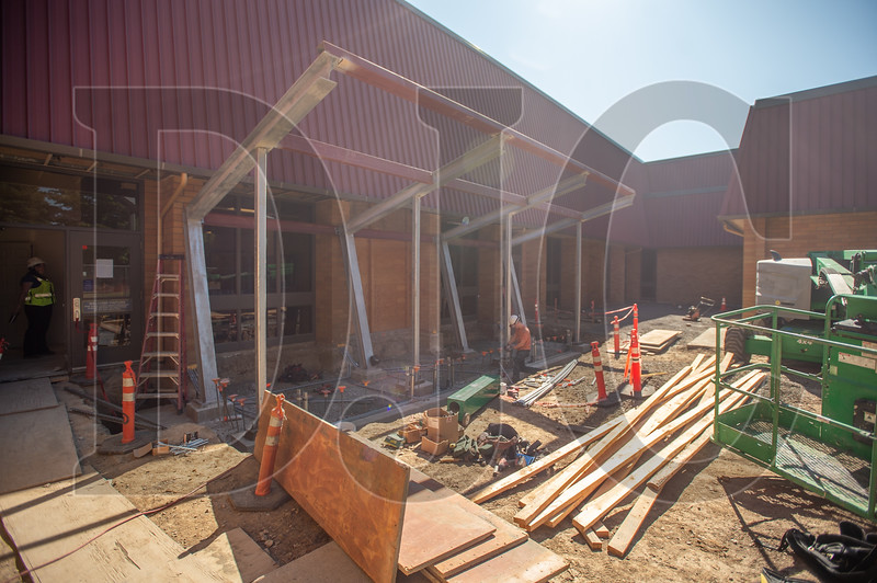 A new secure vestibule is being added to the main entrance of the school. (Josh Kulla/DJC)