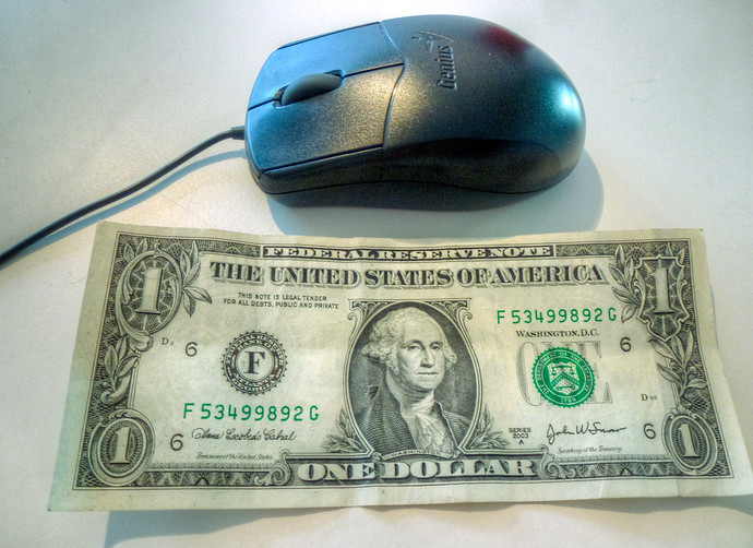 us dollar bill mouse