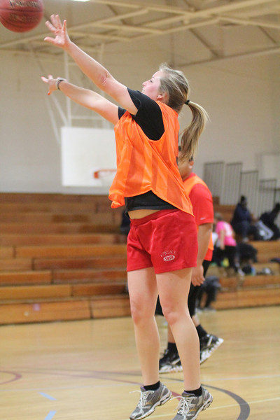 Hannah Haggerty plays Intramural basketball Monday night in Bost Gym.
