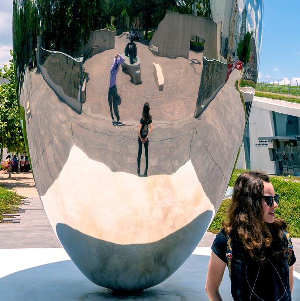 John and Hannah in the Giant Bean.  Hannah outside the Giant Bean.