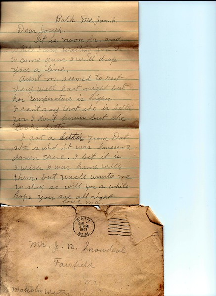 Letter to Joseph from Nellie Snowdeal Jan 3 1948