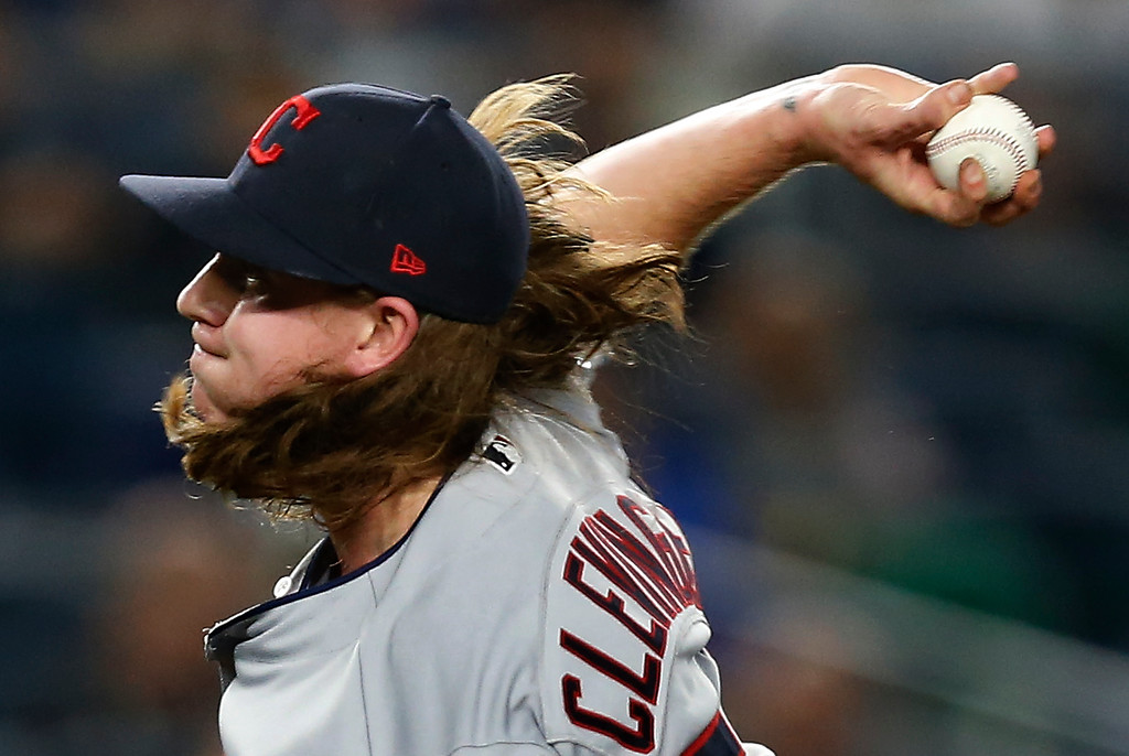 . Cleveland Indians pitcher Mike Clevinger) delivers against the New York Yankees during the third inning in Game 4 of baseball\'s American League Division Series, Monday, Oct. 9, 2017, in New York. (AP Photo/Kathy Willens)