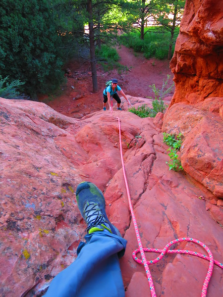 Practicing belaying a short section here up to the start of the real climb.