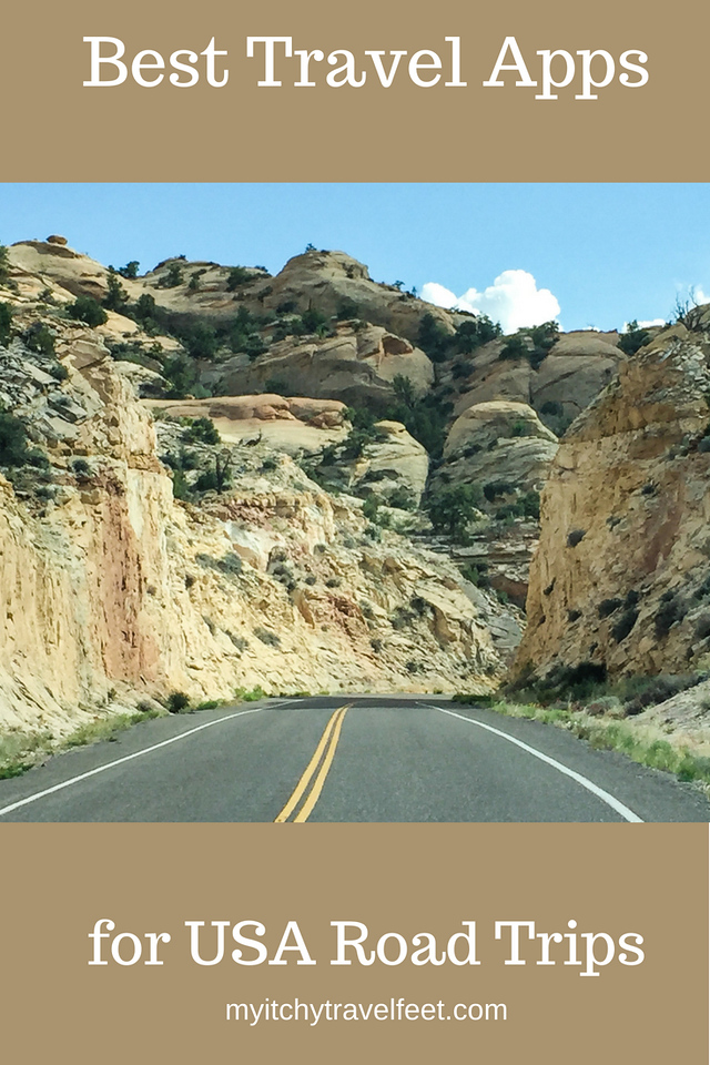 Text on photo: Best Travel Apps for USA Road Trips. Photo: road traveling through sandstone rock formations