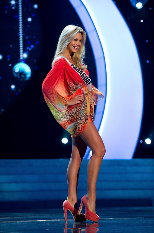 . Miss Paraguay 2012, Egni Eckert, rehearses for the 2012 Miss Universe Presentation Show in Las Vegas, Nevada, December 13, 2012.  The Miss Universe 2012 pageant will be held on December 19, 2012 at the Planet Hollywood Resort and Casino in Las Vegas. REUTERS/Darren Decker/Miss Universe Organization L.P/Handout