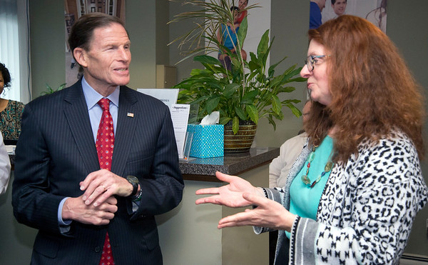 02/07/20 Wesley Bunnell | StaffrrSenator Richard Blumenthal visited Neighbor Works at 223 Arch St on Friday afternoon to announce federal grant money which has been allocated to the program. Senator Blumenthal smiles during a presentation by NHS of New Britain's Director of Community Development and Engagement Daria Keyes.