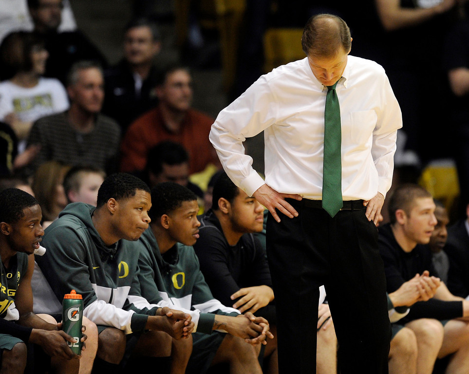 . BOULDER, CO. - MARCH 7: Oregon coach Dana Altman had little to be pleased with in the second half. The University of Colorado men\'s basketball team defeated Oregon 76-53 Thursday night, March 7, 2013 at the CU Events Center in Boulder. (Photo By Karl Gehring/The Denver Post)