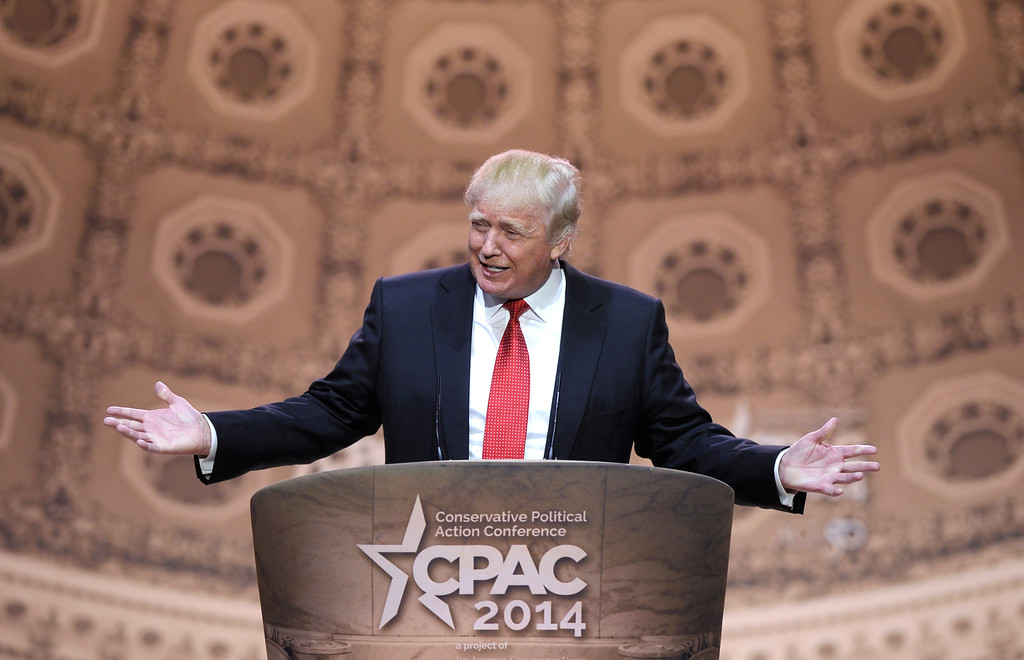 . Donald Trump speaks at the Conservative Political Action Committee annual conference in National Harbor, Md., Thursday, March 6, 2014.  (AP Photo/Susan Walsh)