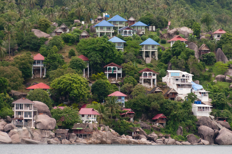 Houses on the hillside at Ko Samui, Thailand