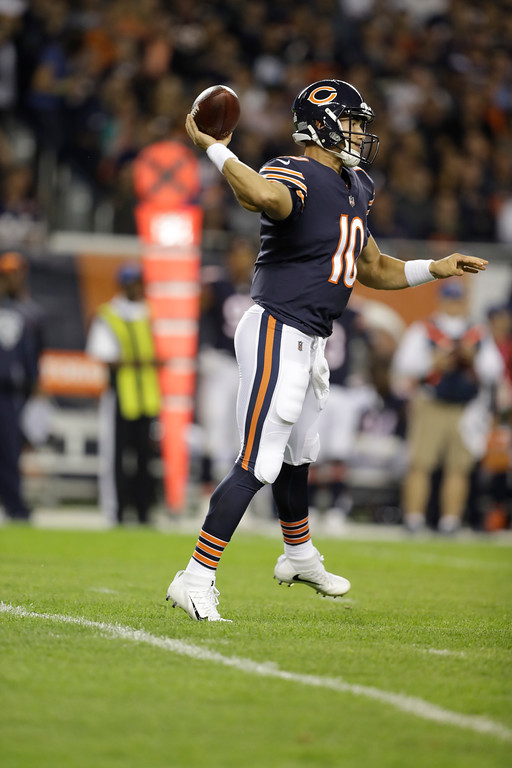 . Chicago Bears quarterback Mitchell Trubisky (10) throws during the first half of an NFL football game against the Minnesota Vikings, Monday, Oct. 9, 2017, in Chicago. (AP Photo/Darron Cummings)