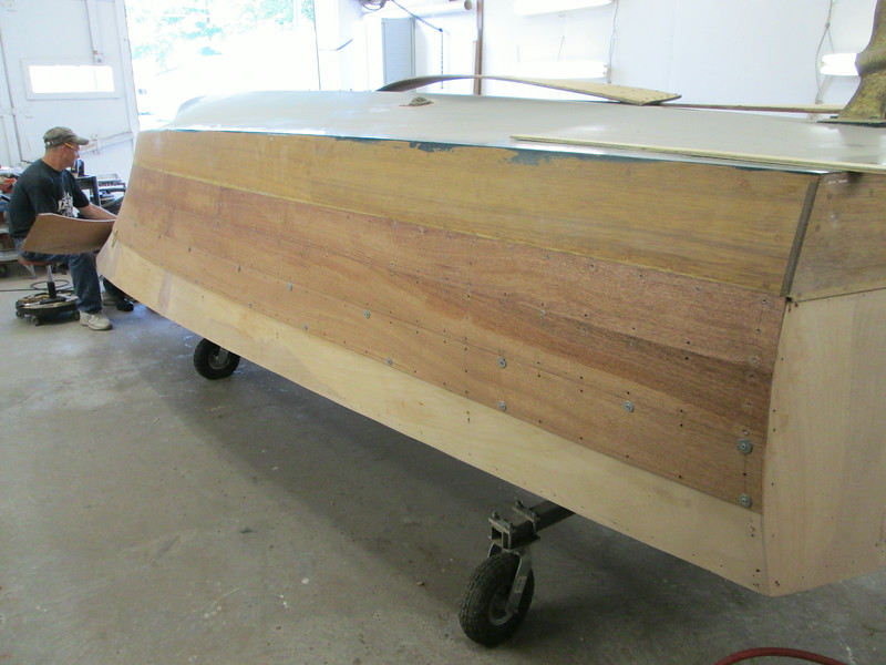 Rear view of fitting new starboard planks.