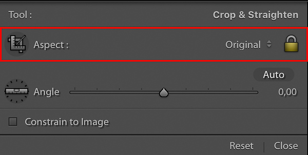 Crop Overlay Tool - Aspect Section  The Crop Overlay Tool's Aspect Ratio settings explained