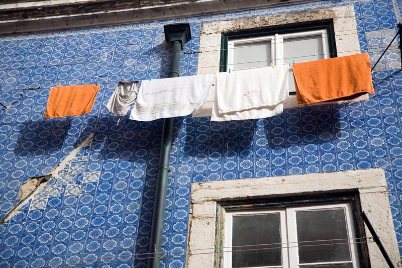 Typical glazed ceramic facade, Bairro Alto, Lisbon