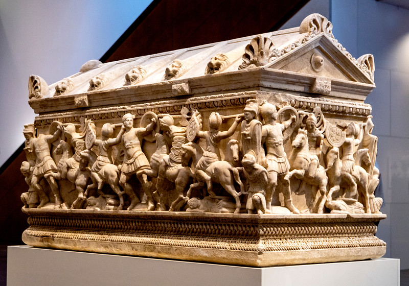 Roman Sarcophagus Depicting a Battle between Soldiers and Amazons