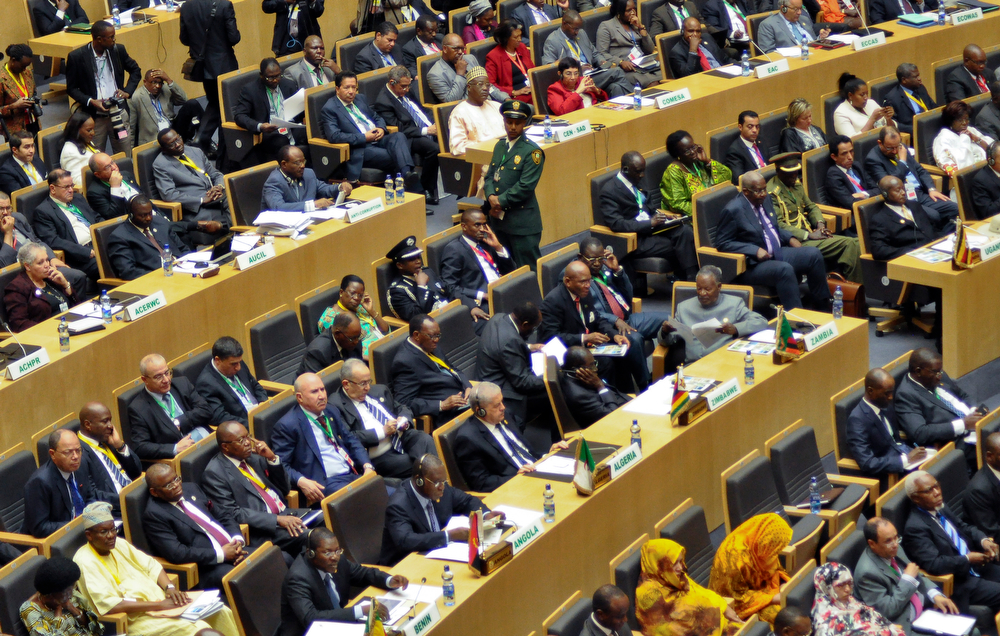 . African presidents and heads of government attend the opening session of the African Union (AU) summit in Addis Ababa, Ethiopia Thursday, Jan. 30, 2014. African leaders met in Ethiopia Thursday at a summit to discuss outbreaks of violence in South Sudan and Central African Republic, as well as food security across the continent. (AP Photo/Elias Asmare)