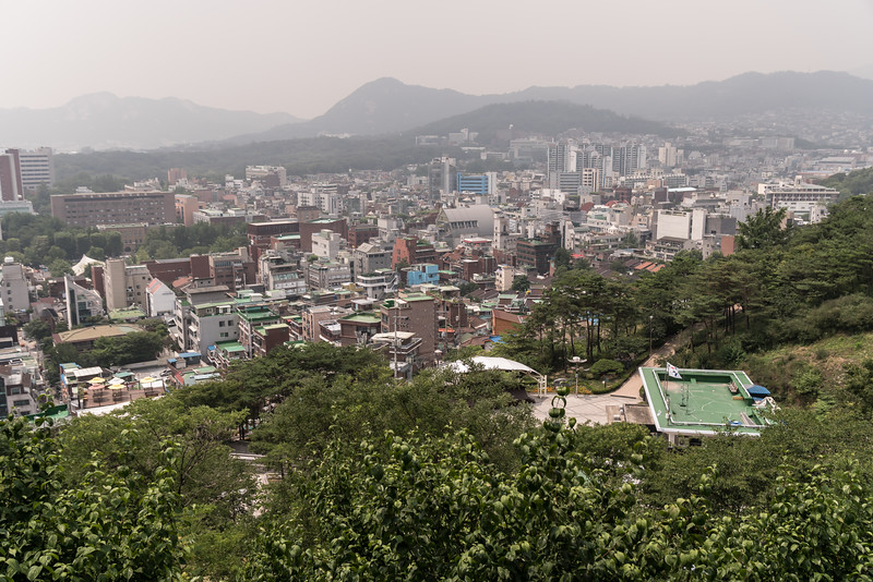 This view of Seoul on a very hazy, overcast day is from Naksan Park, a beautiful hilltop park along a portion of the old city wall.