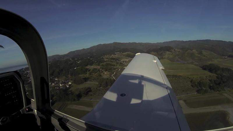 Flight from Half Moon Bay up the coast to San Francisco, landing Reid-Hillview, Jan. 19, 2013
