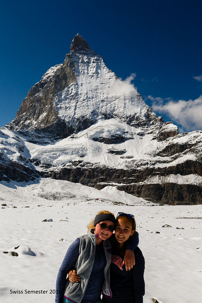 Grace and Phaedra underneath the Matterhorn