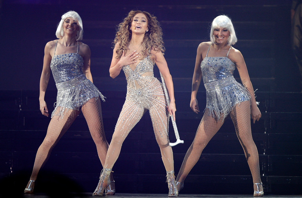 ". Singer Jennifer Lopez performs in her ""Dance Again\"" world tour that kicked off in Panama City, late Thursday, June 14, 2012. (AP Photo/Arnulfo Franco)"