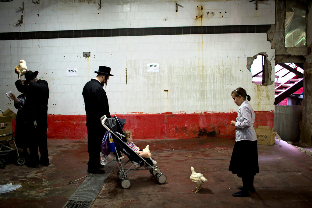 . An ultra-Orthodox Jewish man swings a chicken over his wife head as part of the Kaparot ritual in the ultra-Orthodox city of Bnei Brak near Tel Aviv, Israel, Wednesday, Sept. 11, 2013.  (AP Photo/Oded Balilty)