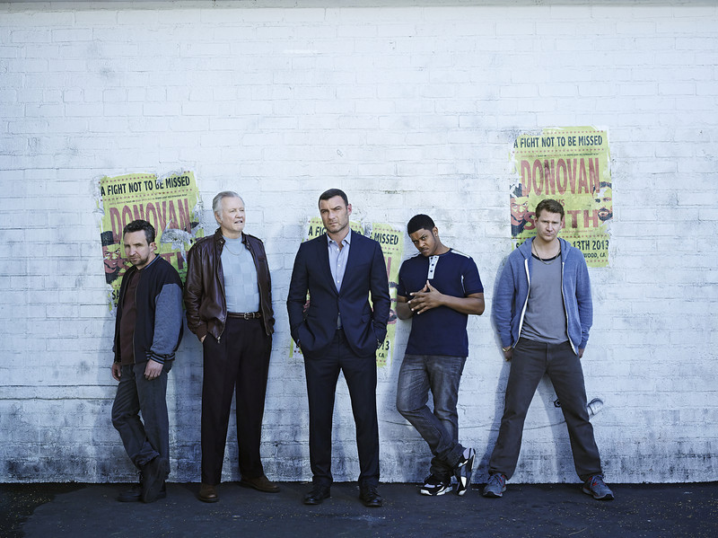 . Eddie Marsan as Terry Donovan, Jon Voight as Mickey Donovan, Liev Schreiber as Ray Donovan, Pooch Hall as Daryll and Dash Mihok as Bunchy Donovan in Ray Donovan (Photo:  Brian Bowen Smith/SHOWTIME)