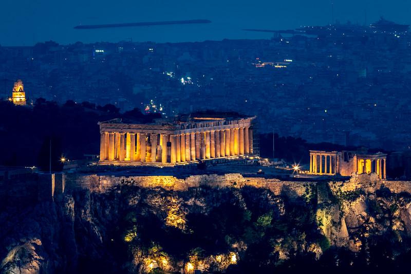 The Parthenon at night.
