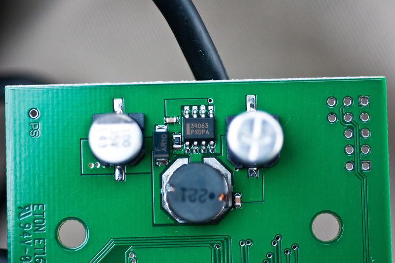 TI 34063 switching converter, creates 5v rail.